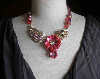 "Vintage Red Flower Leaf Brooch Necklace - Repurposed Necklace -"" Fire"""