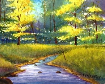 Painting Watercolor Painting Print watercolor landscape painting Tree River  Fall trees colors Creek stream art watercolour Paintings Giclee