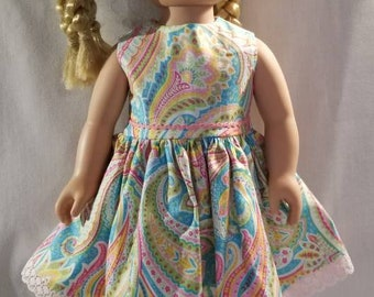 Turquoise blue, pink and yellow paisley doll dress made to fit American Girl or other similar 18 inch dolls