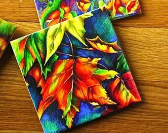 Ceramic Coaster - Autumn Leaves