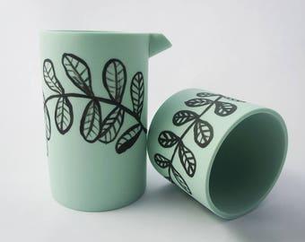 Detsu Water Carafe + Cup - Seafoam