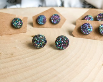Rainbow Druzy Stud Earrings 10mm