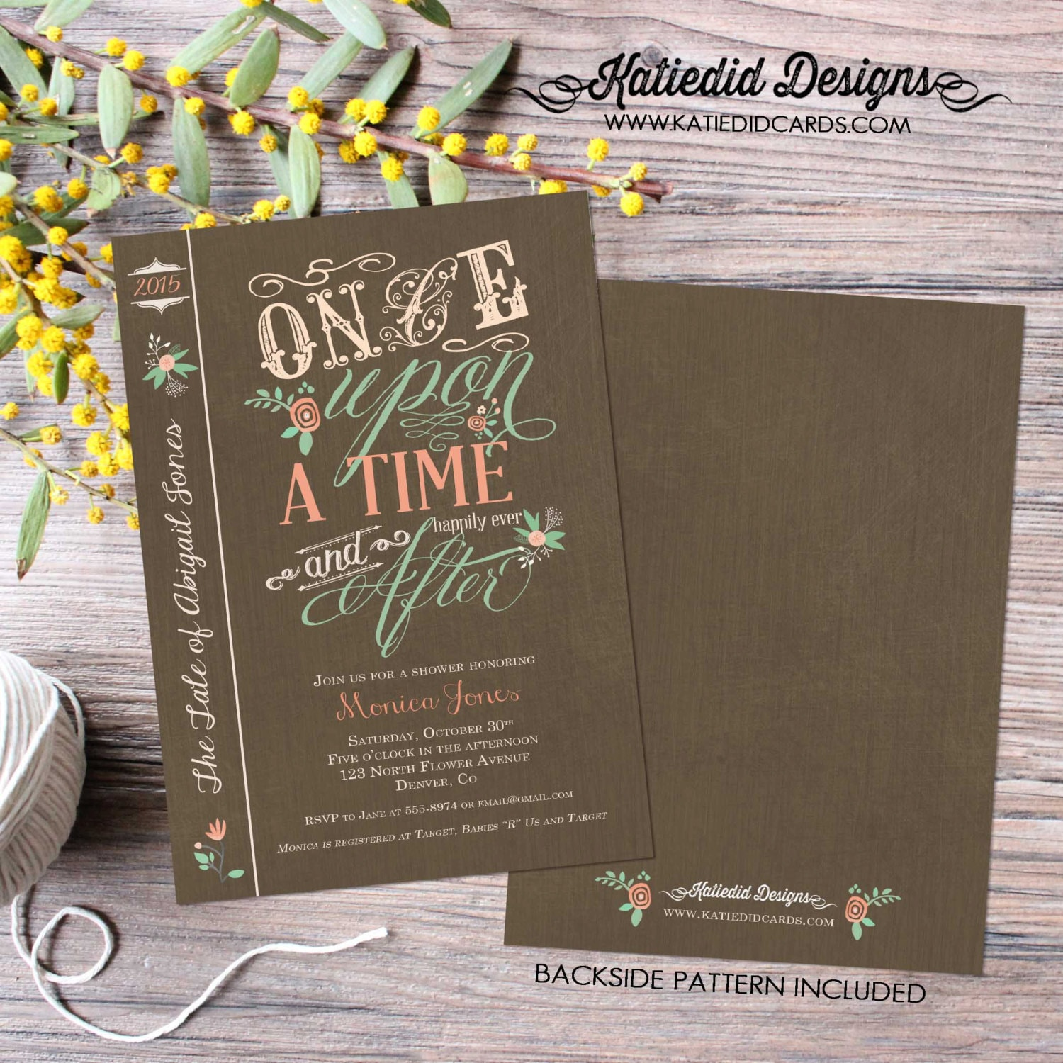 Once upon a time storybook baby shower invitation girl book cover ...