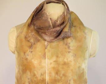 "Natural Dye Silk Scarf - Eco Fashion - Maple Rose Cranesbill - HA8111709 - 8""x70"" (20 x 177cm)"