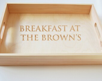 Personalised Wooden Tray, Breakfast Tray, Tea Tray, Serving Tray, Gardening Tray, Engraved Family Tray 40x30cm