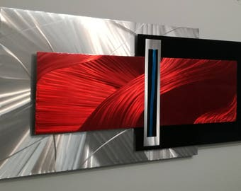 Metal Wall Sculpture, Metal Wall Art, Abstract Wall Art, Contemporary Art, Wall Sculpture, Modern Metal Art, Red-Silver Metal Art, Large Art