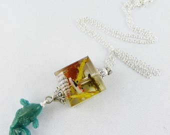 necklace, 925 silver, resin, fish, goldfish