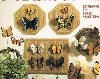 PLASTIC CANVAS PATTERN - Butterflies In Plastic Canvas - Butterfly Wall Hangings - Tissue Box Pattern - Leisure Arts 1102