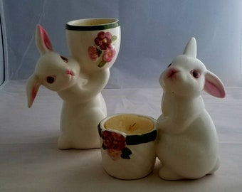 Avon Easter Bunny Candle Holders dated 1980 and 1981. Easter Bunnies.  Ceramic Bunnies.  Vintage Avon Collectables