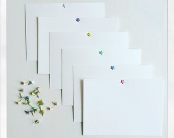 NOTE CARDS // Pastel note cards // White postcards // Set of 6 note cards // Star note cards