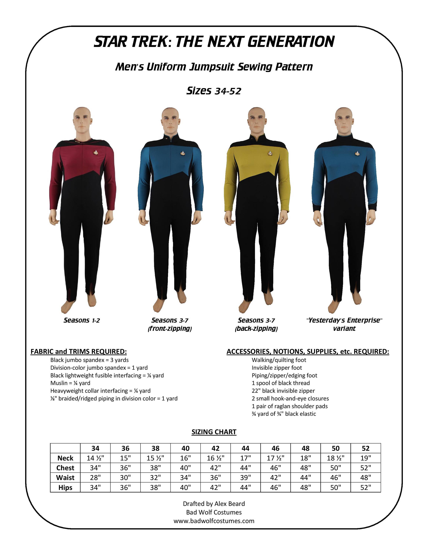 Star Trek Schnittmuster TNG Overall die nächste Generation