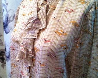 35% Off Sale Vintage ruffled work blouse 1970