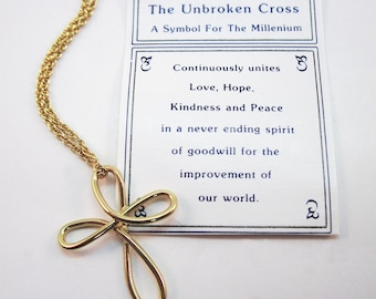 Goldtone Unbroken Cross Necklace - A Symbol for the Millenium