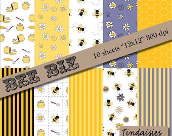 "Digital Scrapbook Paper - Bee Theme - Package of 10 - ""Bee Biz"""