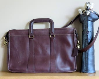 Dads Grads Sale Vintage Coach Embassy Mahogany Leather Briefcase Laptop IPad Carrier No 5282 - VGC Made in U.S.A.