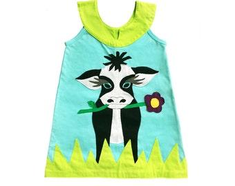 Girl's Dress, COW Dress, COW Clothing, Handmade Clothing, Applique Dress, Applique Clothing, Blue Dress, Children's Dress