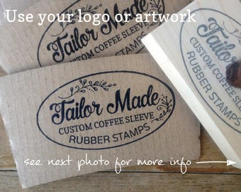 Coffee Sleeve Logo Stamp, Custom Logo Rubber Stamp, Barista Stamp
