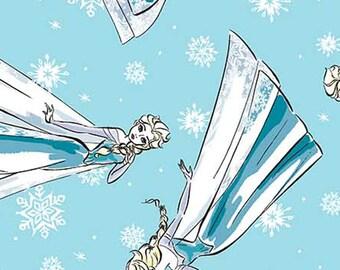 Disney FROZEN Blue Elsa Sketch, cotton Fabric, Yard