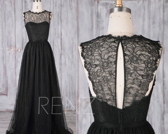 Bridesmaid Dress Black Tulle Dress,Wedding Dress,Illusion Sweetheart Maxi Dress,Key Hole Back Lace Prom Dress,Long A-Line Party Dress(LS473)