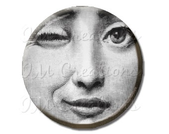 LIQUIDATION SALE! Woman Face Winking Magnet or Pinback 2.25""