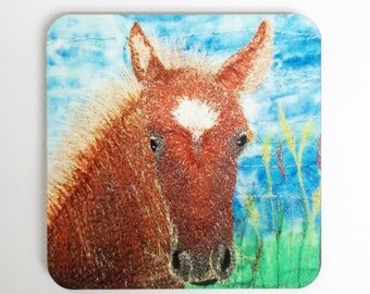Horse coasters ~ animal coasters  ~ nature coasters ~ horse print ~ animal lovers gifts ~ foal gifts