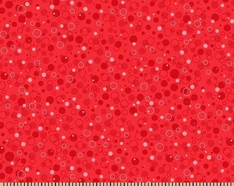 Patrick Lose Fabric, Bubbly, Watermelon, 100% Cotton, Polka Dots and Circles, Bubbles, Quilting Fabric, by the Yard Z150715