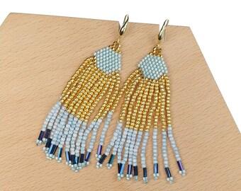 Gold-Light-Blue - Waterfall Beaded Tassel Earrings
