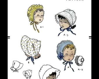 """BABY BONNET Sewing Pattern Retro Style CHILD Fabric Material Sunbonnet Caps Hat Millinery Vogue # 2661 Fascinator 12"""" Headsize Reproduction"""