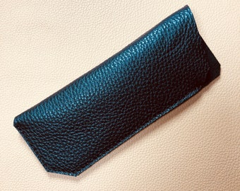 Leather Glasses Case, Spectacle Case, Sunglasses case, Eyeglass case, Sunglass Case, BLACK-BLACK