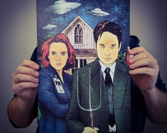 X-Files American Gothic Scully Mulder Parody Poster Design // 11x17 Illustrated Art Print