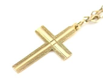 Vintage Gold Cross Pendant & Fancy Chain- 9ct Gold