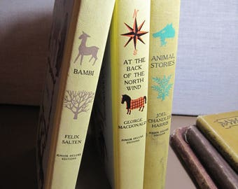 Set of Three (3) Junior Deluxe Editions Books - Bambi, Animal Stories and At the Back of the North Wind
