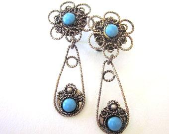 Vintage Silver Filigree Turquoise Earrings Sterling Silver Dangle Earrings