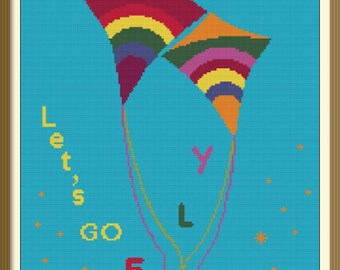 Kites Counted Cross Stitch Pattern PDF Chart Kites in Love Colorful Cross Stitch Design