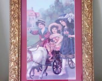 Antique Vintage Mahogany Wood Frame Vintage Framed Print