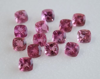 Pink Tourmaline 6MM Cushion Faceted / Pleasant Pink Color / Tourmaline Cushion / Faceted Cushion Gems / For Tourmaline Jewelry