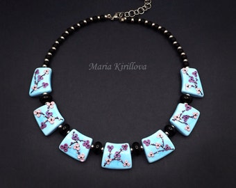 Sakura in Bloom Glass Necklace, lampwork jewelry, murano glass, flamework, for her, light blue, elegant, floral, pink flower, cherry blossom