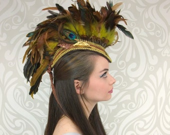 Feather Mohawk, Gold and Brown, Tribal Mohawk, Feather Headdress, Costume Headpiece, Cosplay, Fantasy