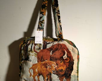 STEAMPUNK Tapestry Suitcase Carpet bag Repurposed zips Bufflao Leopard  Anna Hermans Eco
