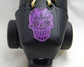 Leather Toe Guards with Purple Sugar Skulls