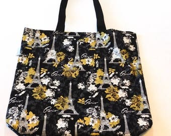 Black Gold Paris Eiffel Tower Tote Gift Project Reversible Reusable Grocery Craft Bag