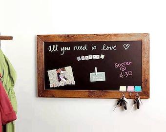 Magnetic Chalk Board   Chalkboard Message Center   Magnet Bulletin Board    Notice Board   Rustic