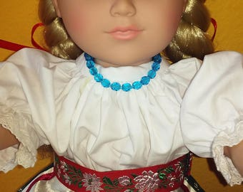 18 Inches Doll Belt-Hungarian Folk Dance Belt from Rábaköz-Embroidered Doll  Belt-  It fits American Girl doll