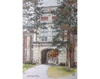 University of Missouri School of Journalism LIMITED EDITION Pen and Ink and Watercolor Art Print Illustration - Graduation Gift, university