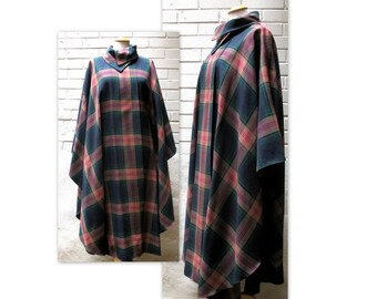 Vintage 70s Plaid Cape Coat Poncho OS with Avant Garde Collar