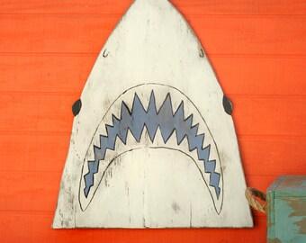 Shark Head Fish Decor Shark Decor JAWS Sign Wooden Shark Decor Shark Sign JAWS Decor Nautical Shark Head Beach House Decor Great White Shark