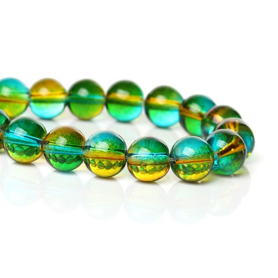 Set of 10 glass beads - green and yellow transparent - 10 mm