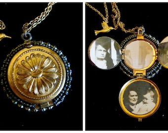 Family Smiles and a Hummingbird - Vintage Locket Necklace