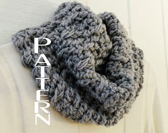 Crochet Cowl PATTERN DIY Circle Scarf Quick Cozy Cowl