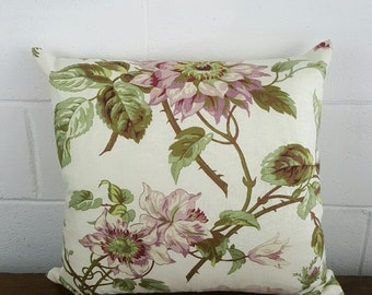 Unique European 100% Cotton Fabric Cushion Cover in  Exclusive Spring Country Garden  Floral Design by Peacock and Penny. 45cm x 45cm